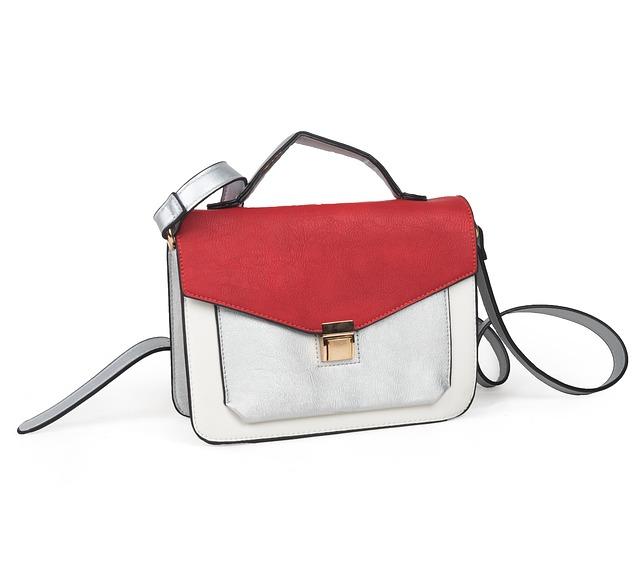 červno-bílá kabelka